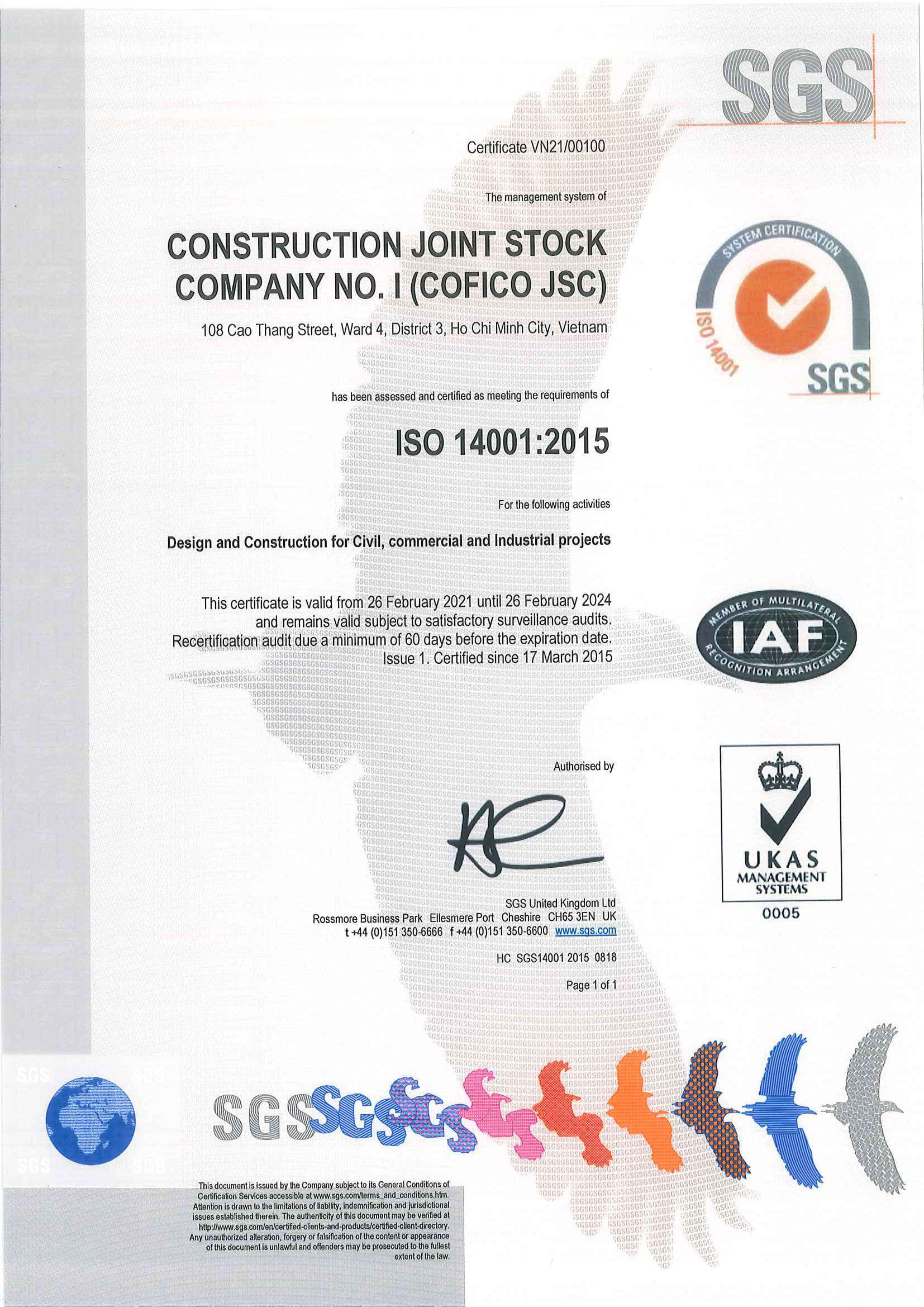 The certificate of ISO 14001:2015